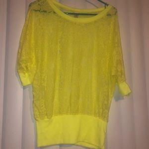 NEON Yellow lace shirt size M